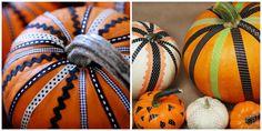 Ribbon decorated pumpkins