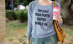 Top knots, yoga pant