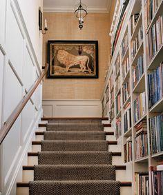 architect, interior design, basement stairs, stairway, bookcas, librari, shelv, hallway, stair runners