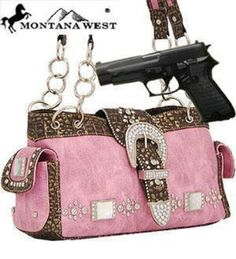 *Hot & Trendy* Pink Western Rhinestone Buckle Conceal and Carry Purse