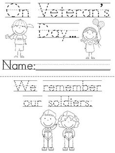 Great printable book for kids for Veteran's Day!