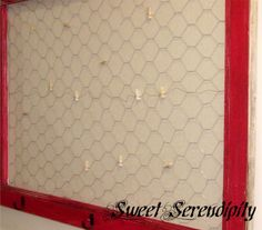 DIY message center (she uses an old screen door and creates places for hooks and a magnet board