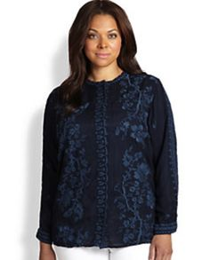 Johnny Was Plus Size Floral Embroidered Blouse