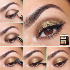 Gold Eye Makeup Tutorial fashion, style, jason wu, beauti, eyeshadows, gold, hair, new years, eye makeup tutorials