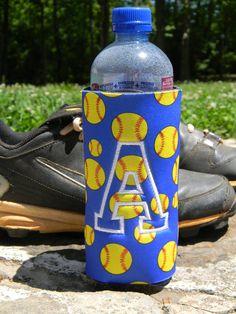 Softball soccer or volleyball water bottle koozie  by doodlegirls, $9.00 games, balls, softbal soccer, volleyball, bottl koozi, softball, sport, volleybal water, water bottles