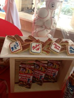 Ball and bat cookies at a Baseball Baby Shower #baseball #babyshowercookies