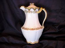 Unique Limoges Porcelain Chocolate Pot ~ Factory Decorated ~ Split Ornate Gold Handle ~ Theodore Haviland 1903 (underlined).