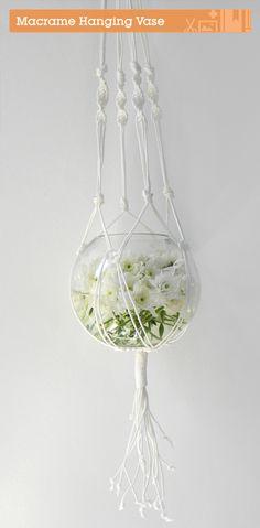 DIY: macrame hanging vase