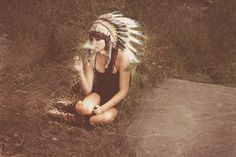 this image makes me want a headdress badly. #headdress #smoke #calm #girl