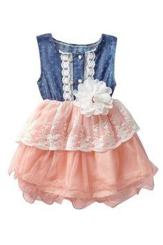 Denim Lace Cutout Tutu Dress (Baby, Toddler, & Little Girls)