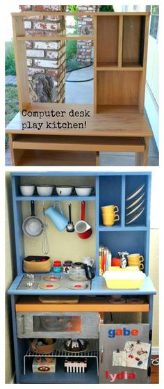 Play kitchen #Recycled #entertainment #center.  This is an easy one.  mostly painting and add ons and not a lot of rebuilding or redesigning.