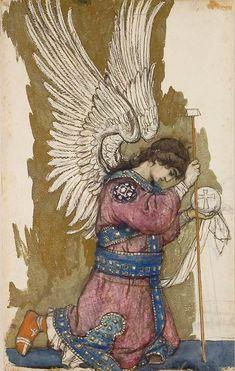 Angel archangel michael, faith, art, victor vasnetsov, angels, saint, orthodox angel, kneel angel, angel delight