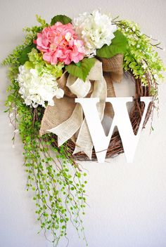 Pink & White Hydrangea Monogram Grapevine Wreath with Chevron Burlap. Spring Wreath. Summer Wreath. Housewarming, Wedding, Mother's Day. burlap wreaths, spring wreath hydrangea burlap, pink hydrangea wreaths, pink and black wreath, grapevine wreath wedding, burlap spring wreath, hydrangea monogram, monogram grapevin, grapevin wreath