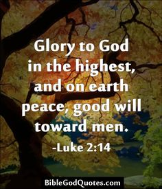Glory to God in the highest, and on earth peace, good will toward men. -Luke 2:14