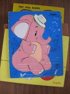 Vintage 1960s pink elephant puzzle