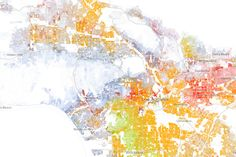 Comprehensive representation of racial distribution in America ever made, Created by Dustin Cable at University of Virginia's Weldon Cooper Center for Public Service.  White: blue dots; African American: green dots; Asian: red; Latino: orange; all others: brown