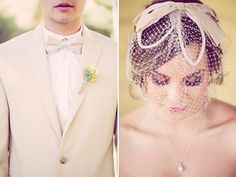 Vintage bride and groom - love her bow fascinator!