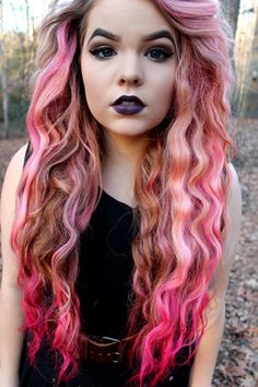 Pink and brown contrast dip dyed hair color