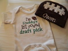 Infant Bodysuit and  Cap Set Baby Boy football by grammeshouse....... need this for my little girl. And have it say mommy's first pick. :-)