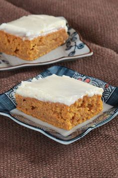 Pumpkin Bars with Cream Cheese Frosting.  Cream cheese frosting is really good. The bars are very dense. I'd prefer something more cake-like. Hubby loved them. He's a HUGE Pumpkin Pie fan.