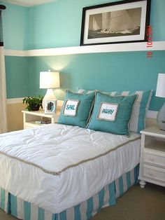 beach themed bedrooms | One color and a few accessories can transform a room into a beachside ...