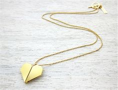 Origami Heart Necklace in Gold, heart jewelry, Japanese inspired heart pendant
