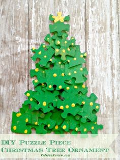 boxes, tree puzzl, christma tree, puzzle pieces, craft ideas, diy christmas tree, christmas trees, ornament crafts, christmas tree ornaments