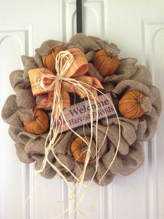 Fall burlap wreath with mini pumpkins and not the sign