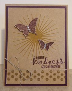 handmade card from Catherine Loves Stamps ... monochromatic browns ... like the use of dark brwon for accents ... two punched butterflies on a stylized sun ... sweet sentiment and a bit of twine ... Stampin'Up!