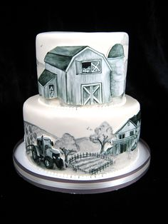 pen and ink style cake, hand painted cake, farm cake, barn cake, black and white cake