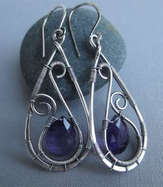 Silver Earrings w. Amethyst/ Amethyst Earrings/ Silver by mese9