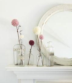 Pompom Yarn Flowers by countryliving #Yarn_Flowers #Flowers #DIY #countryliving