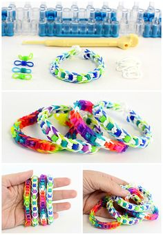 kids think this looks cool! Easy Rainbow Loom Bracelet with Perler Beads - Dabbles & Babbles