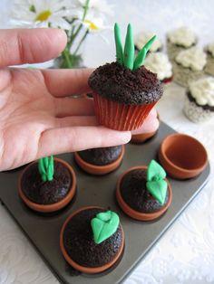 spring cupcakes in mini flower pots