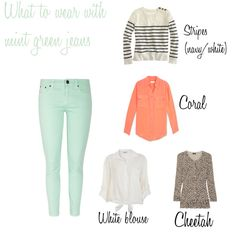 Mint green jeans - how to wear