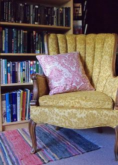 Yellow brocade chair from Dallas thrift store.
