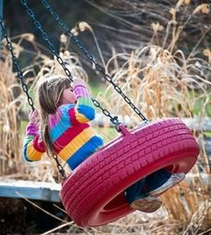 Here's another way to make a tire swing the kids would love.