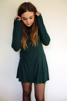 loose long sleeve mini with tights