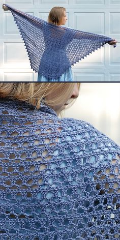 The Diaphanous Shawl crocheted in Classic Elite Yarns Firefly – beautiful airy and light fabric with nice drape. Free.