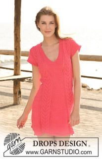 """DROPS dress in """"Muskat"""" with lace pattern and short sleeves. Size S to XXXL. ~ DROPS Design"""
