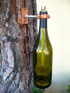 Wine Bottle Tiki Torch Lamp, Hurricane Lantern, Outdoor Lighting, Oil Lamp, Garden or Deck Decor