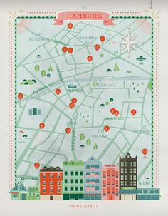 Hamburg . Map . Illustration . Anna Haerlin