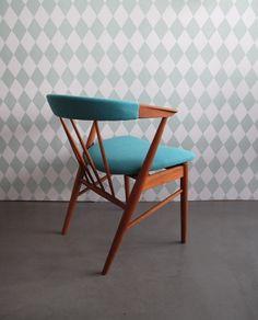 Teak Chair - turquoise fabric