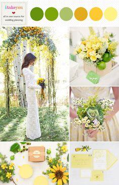 lime green mustard & yellow wedding colours palette | green yellow summer wedding ideas | itakeyou.co.uk