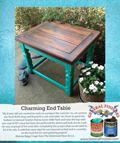 The Distressed Fleur De Lis transformed this table with General Finishes Patina Green Milk Paint and Java Gel Stain.  Looks great!!We'd love to see your projects made with General Finishes products! Tag us with #GeneralFinishes or share with us through our facebook page.  #generalfinishes #milkpaint #javagel