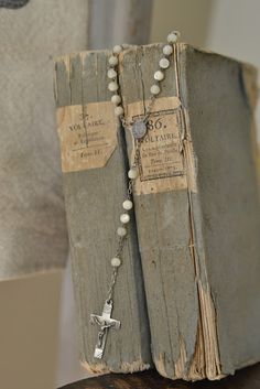 French books with a rosary (from Faded Charm)