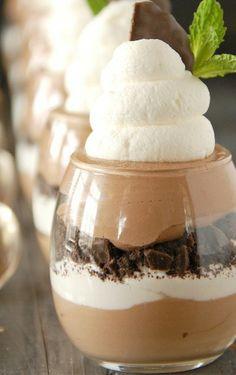 Mint Chocolate Mousse Cookies & Cream Parfaits
