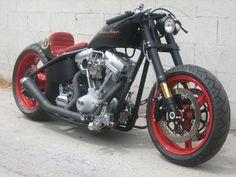 Harley Davidson Cafe Racer › Christian Audigier Custom Black and Red Harley Davidson Cafe Racer Special