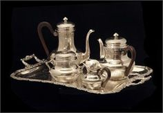 PUIFORCAT ANTIQUE STERLING SILVER TEA / COFFEE SET - LOUIS XVI MODEL, 1890s  Price: $14,499.00