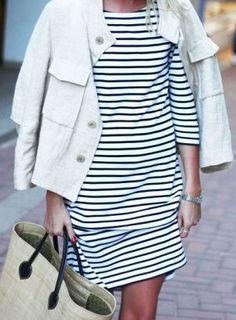 Minimal + Classic: stripe dress + white jean jacket